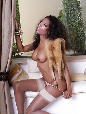 Seductive ebony Shemale Natassia posing